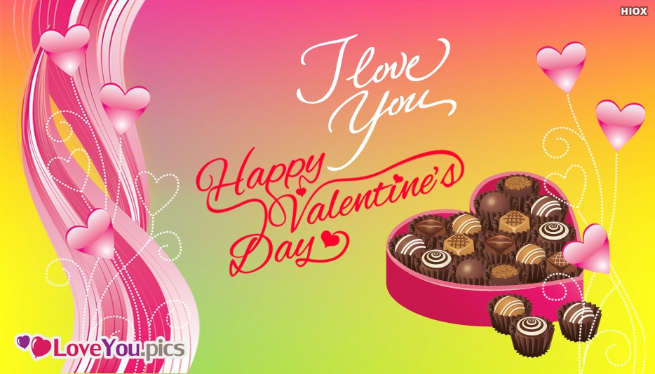 Happy Valentines Day Love Greeting With Chocolate