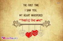 My Heart Whispered You Are the One Love Quote for Her