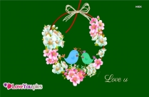 Love Birds with Flowers Background